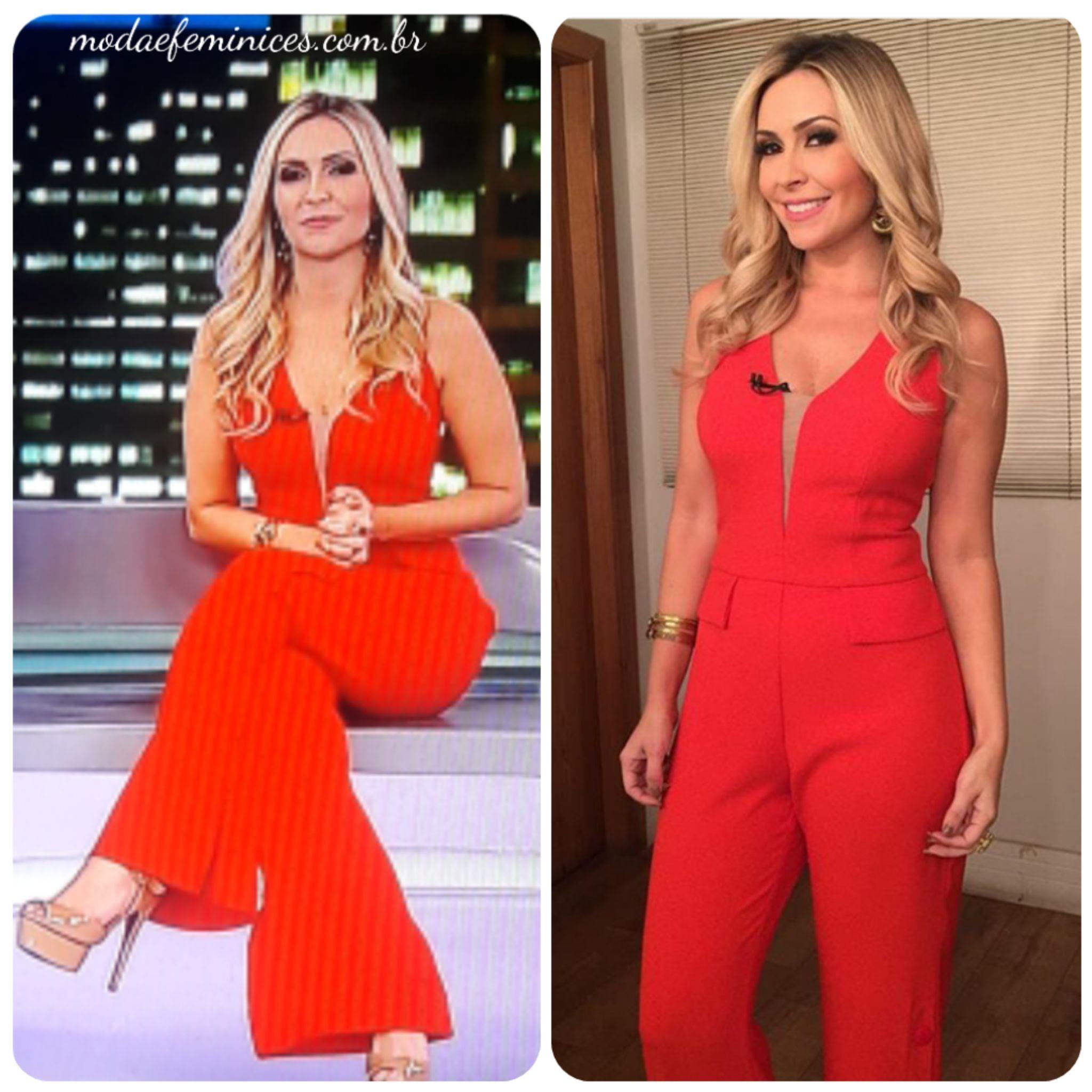 """b49ae76e1a Macacão vermelho da Thalita Oliveira no """"Domingo Espetacular"""""""