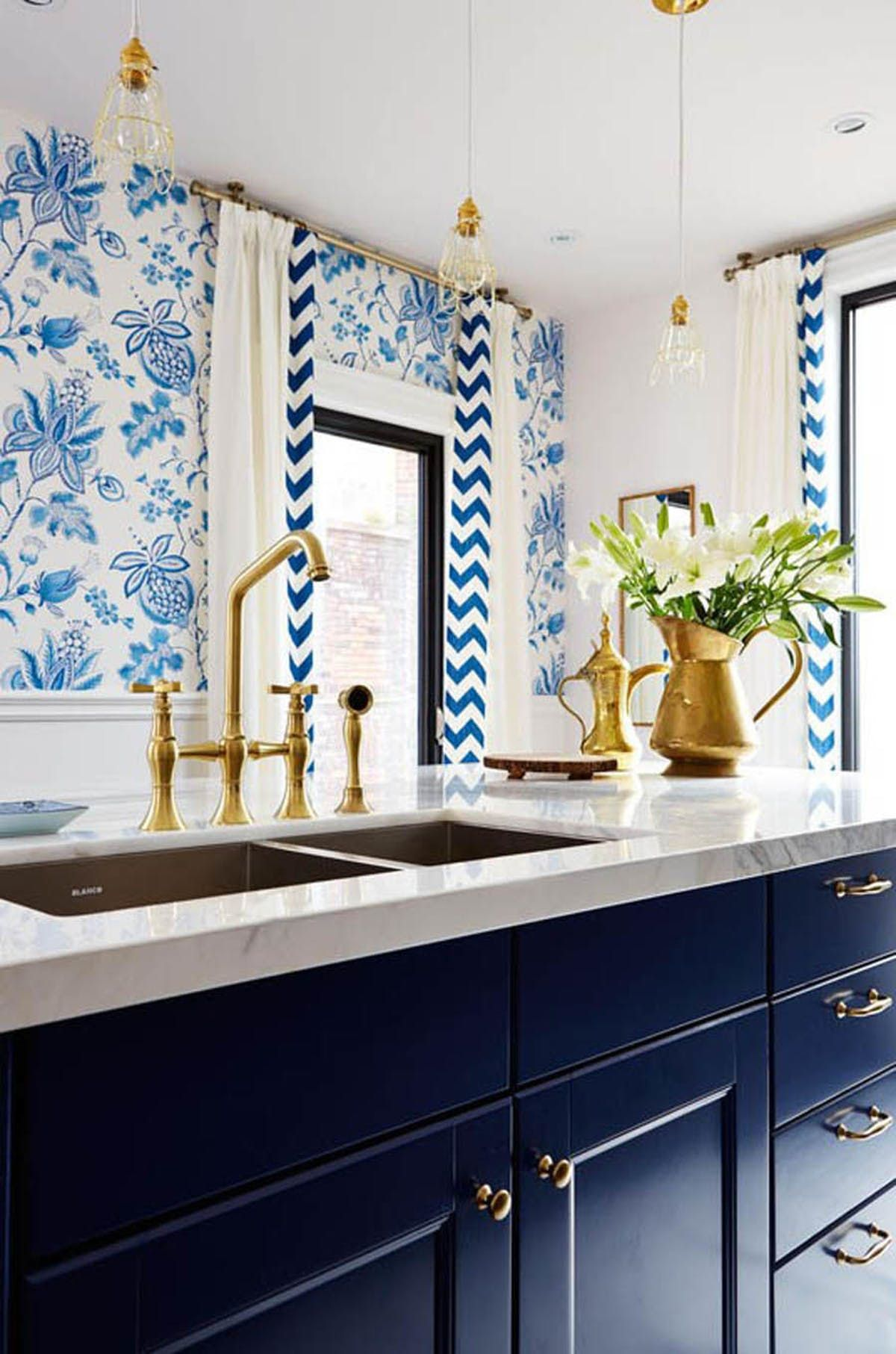 Colorful Kitchen Cabinets Bright Blue Cabinets Blue And White Floral Print Wallpaper Gold Penda Blue White Kitchens Blue Kitchen Island Kitchen Inspirations