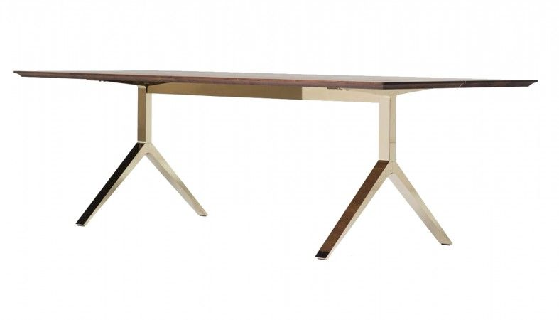 Overton Table 10 12 Seater Walnut Solid Brass Furniture