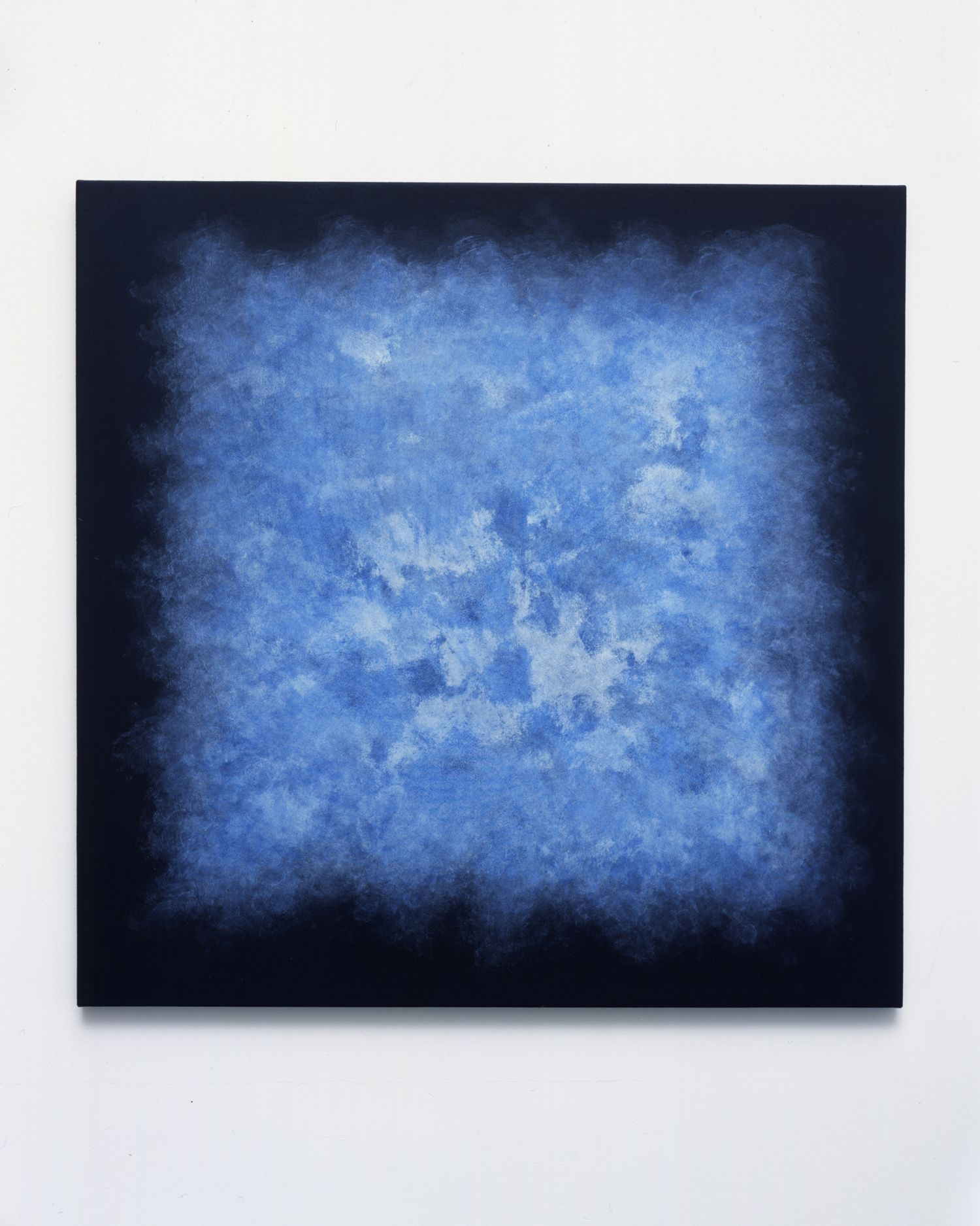 Shirazeh Houshiary Quiver, 2008 Blue pencil on black aquacryl on canvas  70 x 70 cm / 27 5/8 x 27 5/8 in. | Lisson Gallery