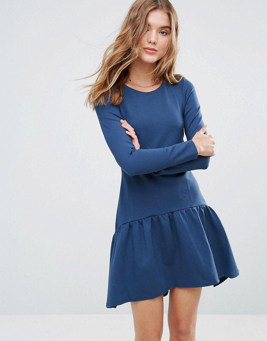 Closet - Langärmliges Kleid mit Schößchen - Grün Jetzt bestellen ...