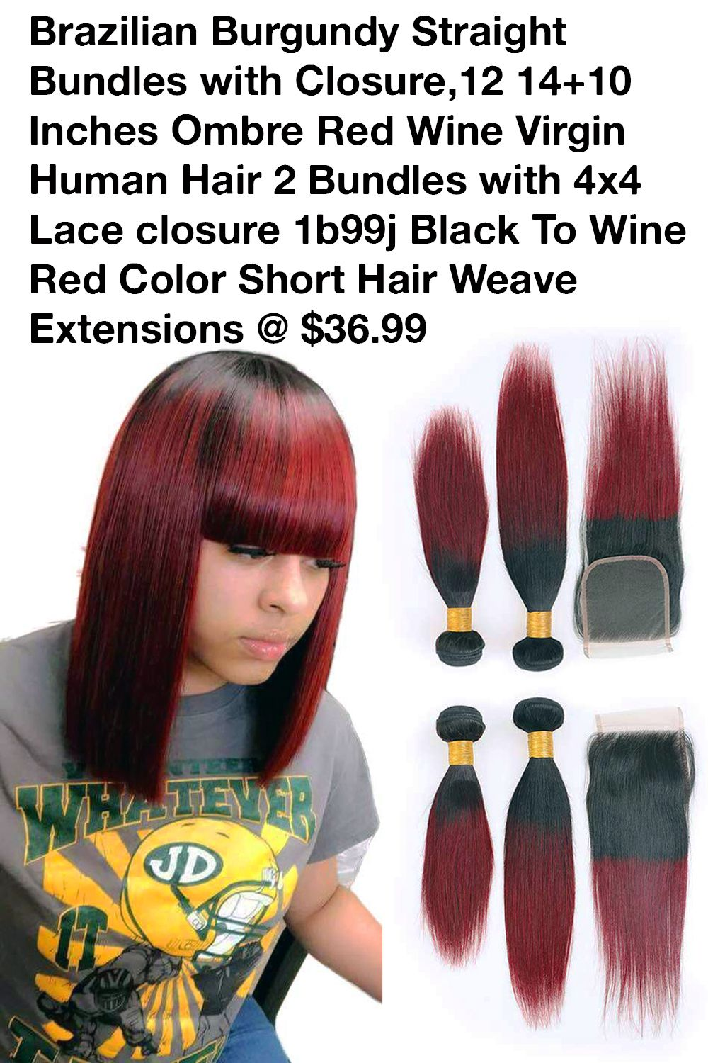 Brazilian Burgundy Straight Bundles 12 14 10 Inches Red Wine Virgin Short Hair Extensio In 2020 Hair Extensions For Short Hair Short Hair Styles Brazilian Hair Bundles
