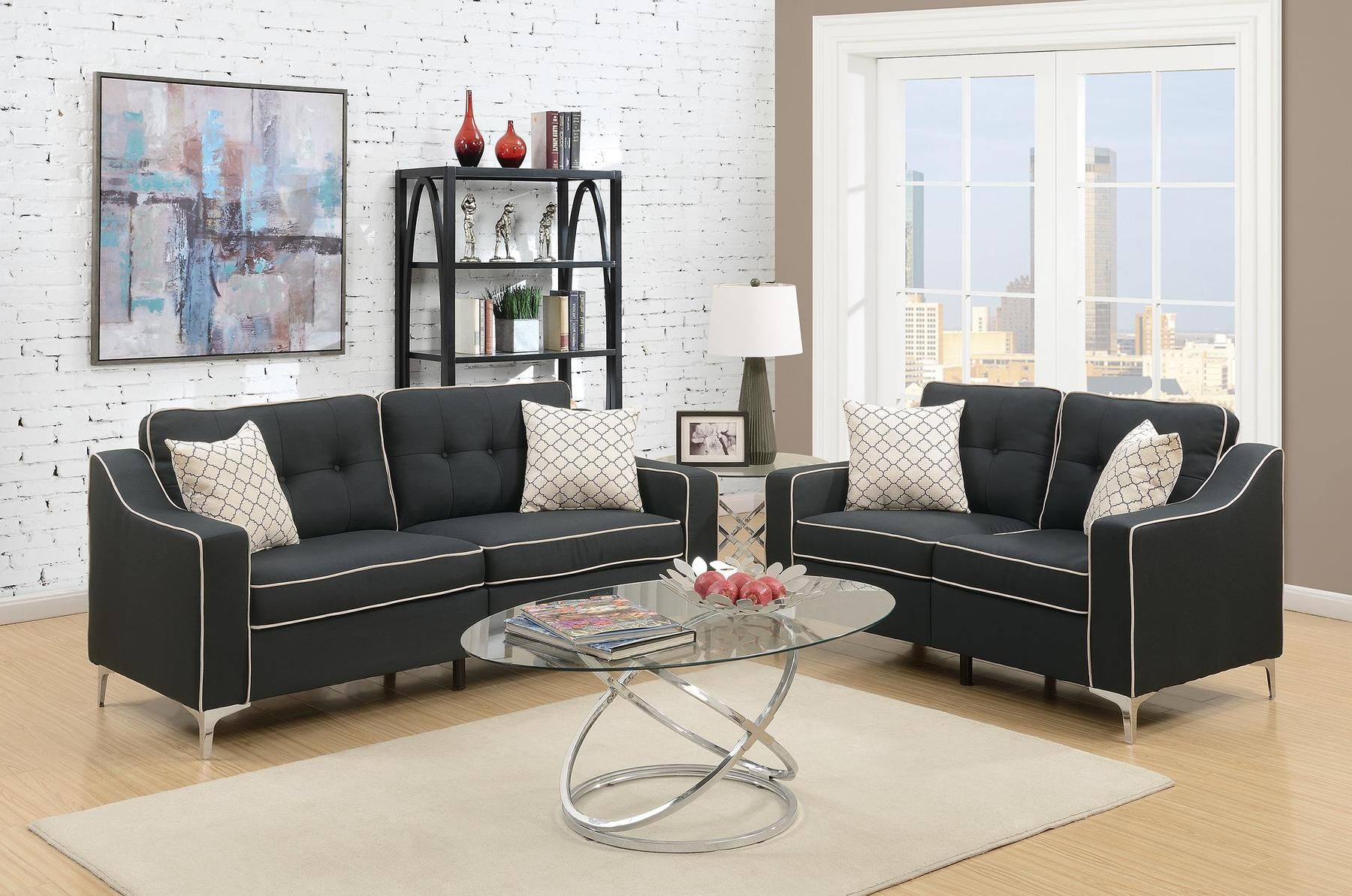 P6891 Sofa Loveseat F6891 Sebastian Poundex Fabric Sofas Sofa And Loveseat Set Living Room Sets Love Seat