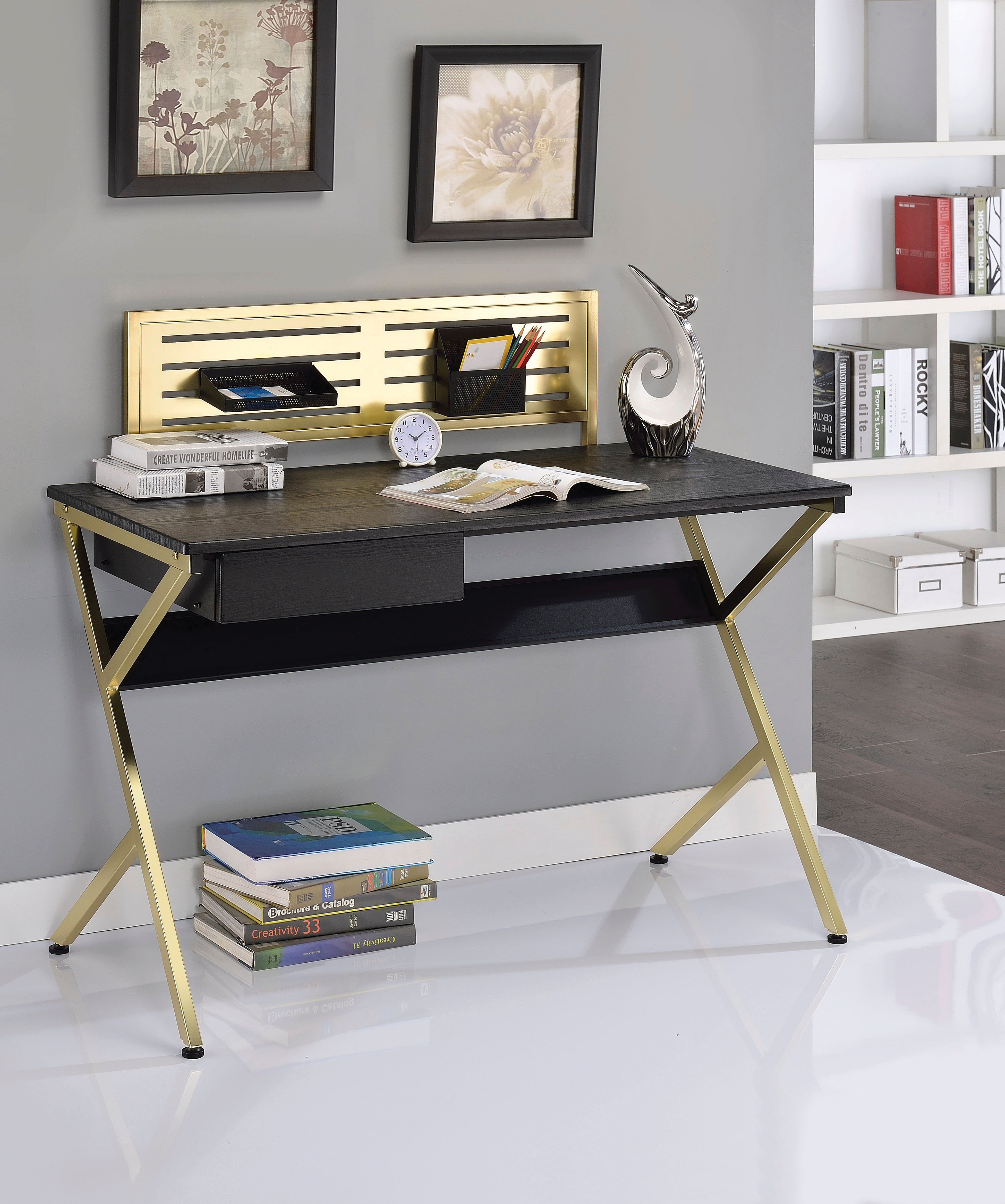 Free Home Interiordecorating Ideas: Black And Gold Bolles Writing Desk