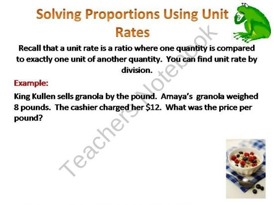 Proportions Solving Proportions Using Unit Rate Product From Math