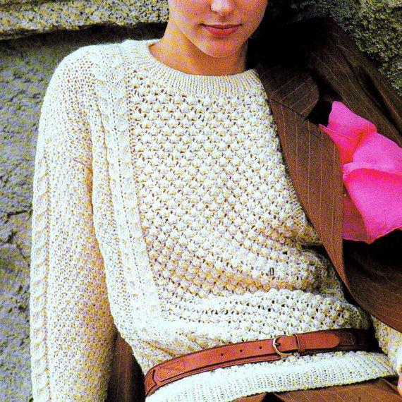 Vintage Knitting Pattern PDF Aran Sweater by PastPerfectPatterns ...