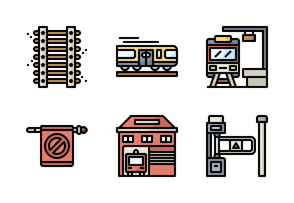 Train Station Filloutline Icons By Nareerat Jaikaew Train Station Business Icons Design Train