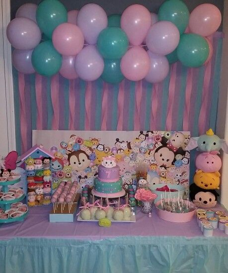 Tsum Tsum Dessert Table Party By Siycupcakes Hope It Gives Other People Inspiration Because I Know I H Tsum Tsum Party 1st Birthday Parties Disney Theme Party