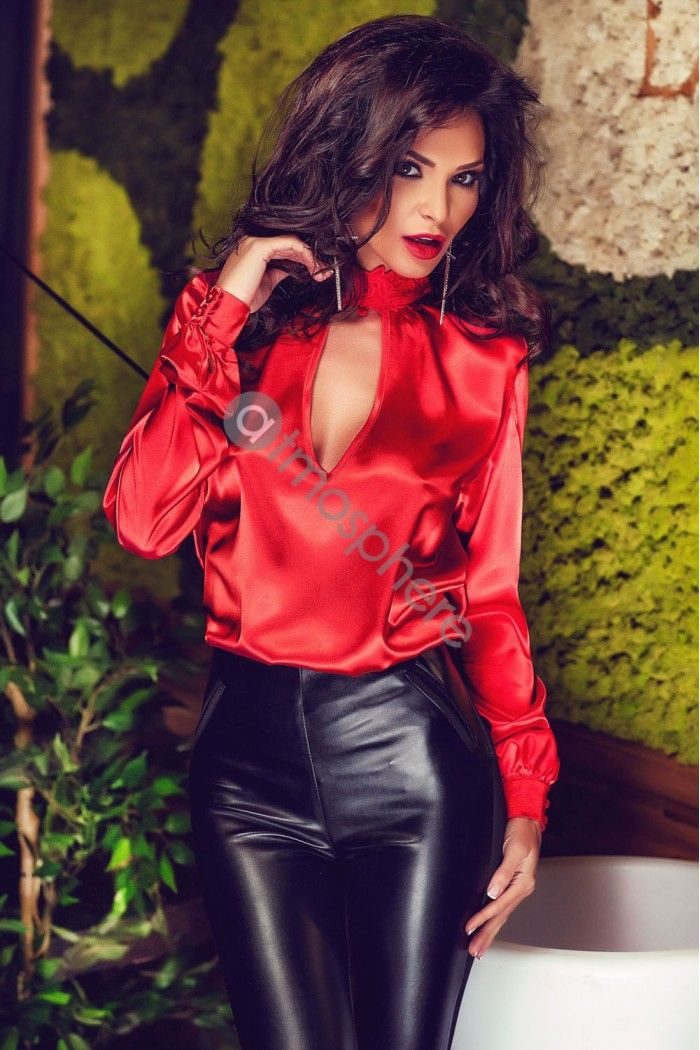 Sexy hot woman | Silky outfit | Satin blouses, Blouse ...