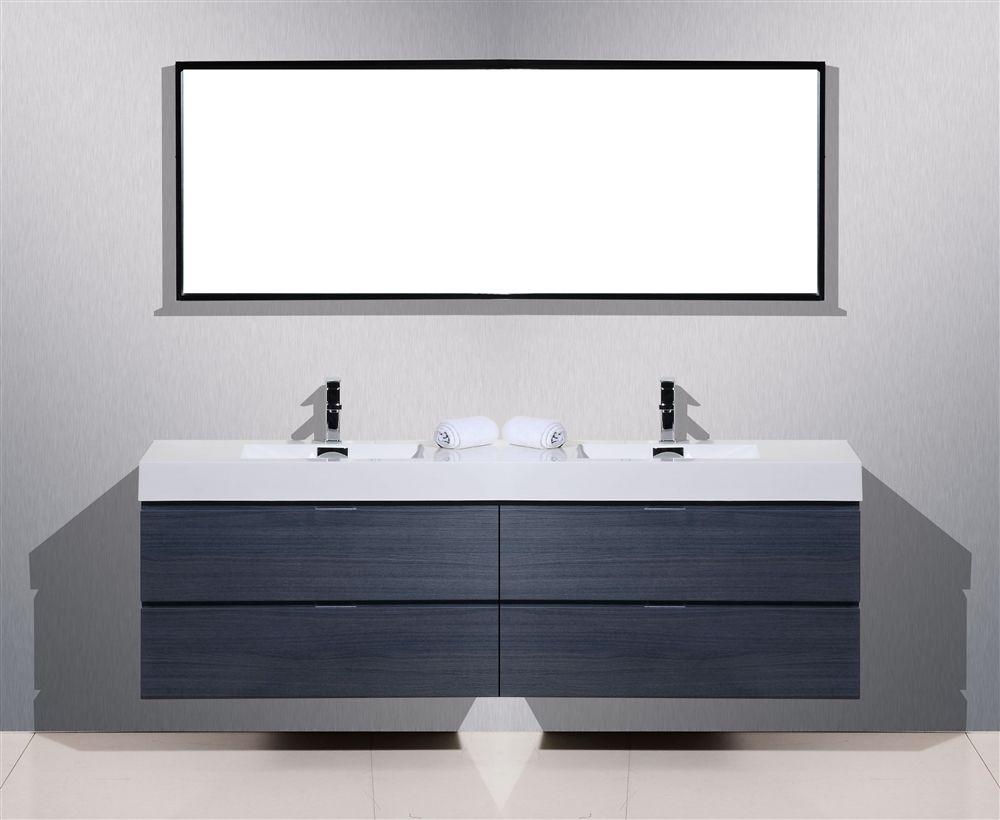 Bliss 80 Gloss Wall Mount Double Sink Modern Bathroom Vanity