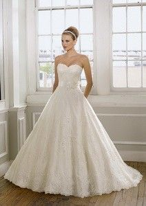 Ball Gown Sweetheart Chapel Train Net and Lace Gown Style 1612