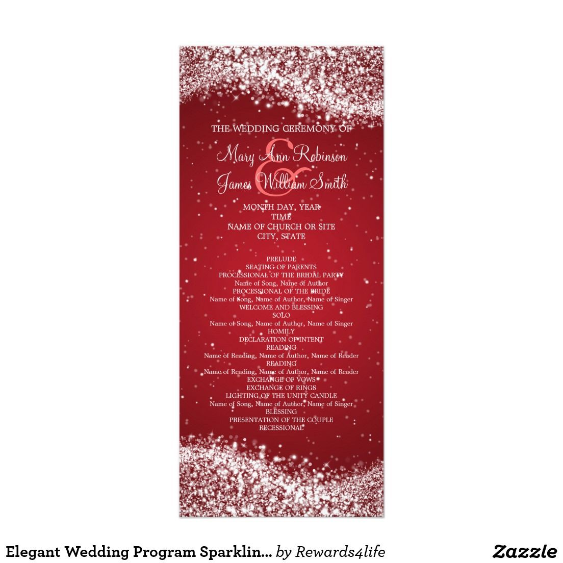 Elegant Wedding Program Sparkling Wave Red | Pinterest | Wedding ...