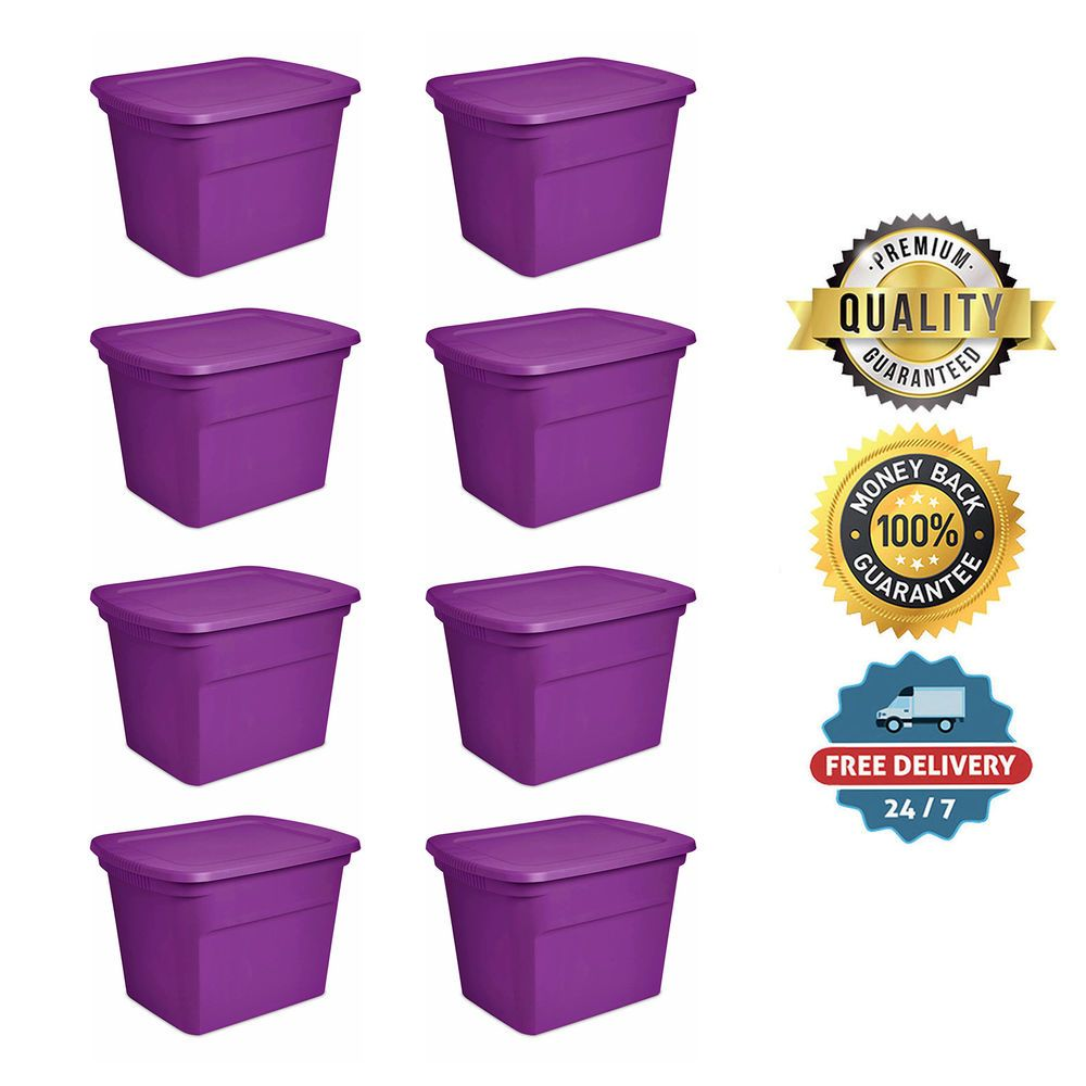 8 Plastic Storage Containers Box Sterilite 18 Gallon Stackable Bin Tote Lid  Set #Sterilite