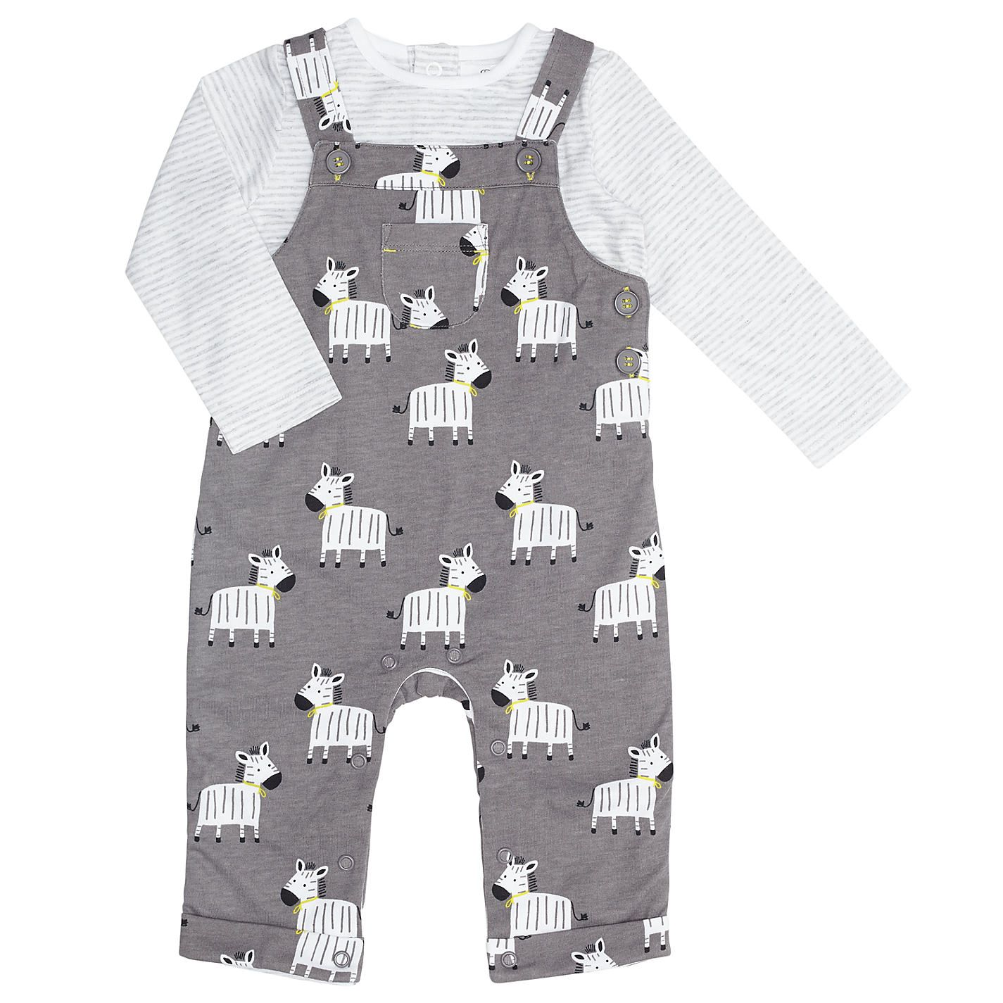 Buy John Lewis Baby Zebra Dungaree Set Charcoal from our Boys