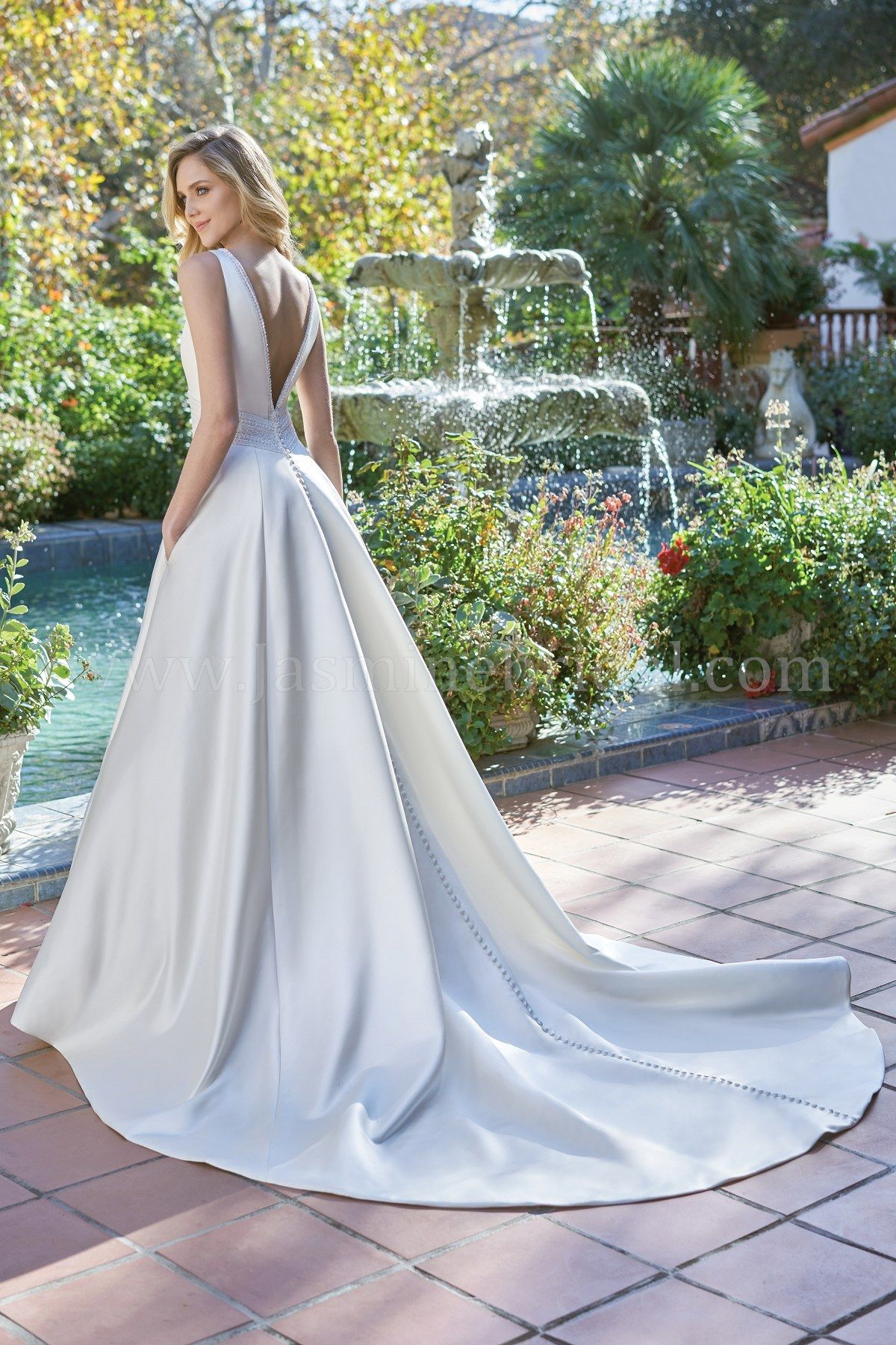 Jasmine Bridal Wedding Dress Beautiful Wedding Dress F201054 V Neck Italian Satin Lace Trim Weddin Satin Bridal Gowns Bridal Ball Gown Wedding Dress Trim