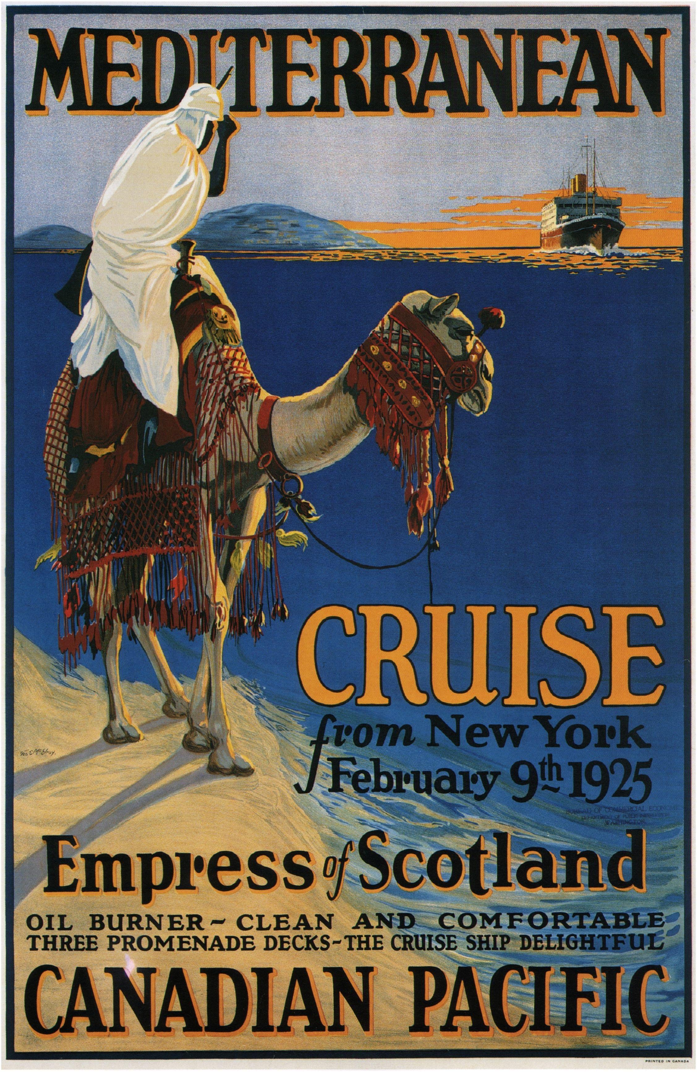 Canadian Pacific Mediterranean Vintage Cruise Posters Vintage Posters Vintage Travel Posters