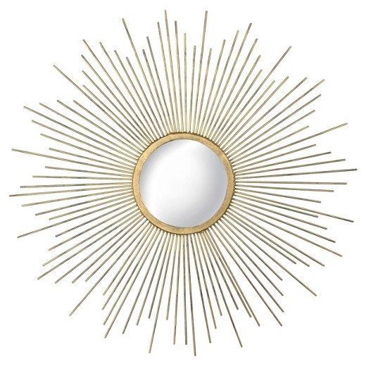 gold sunburst mirror. Sunburst Decorative Wall Mirror - Metal Gold Threshold™ T