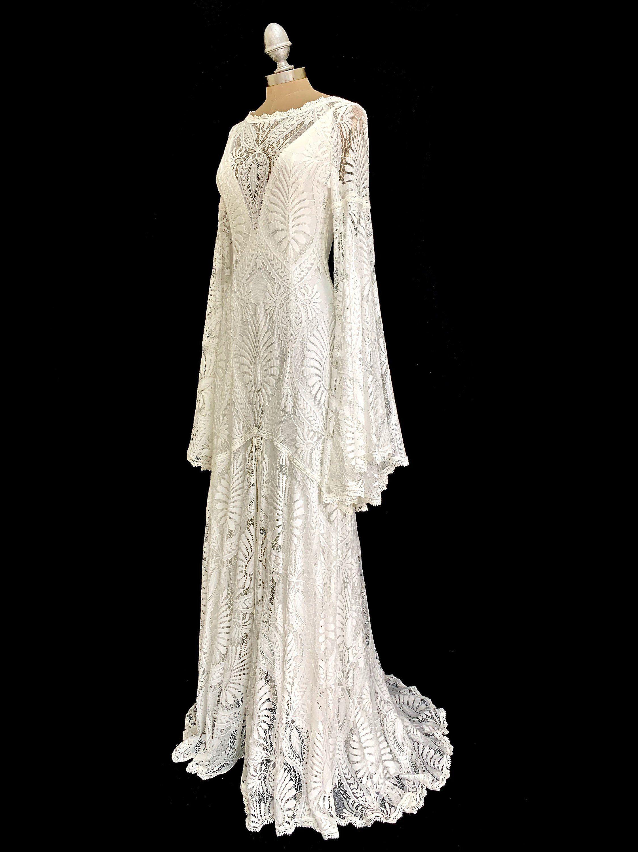 Wedding dresses, lace wedding dress, boho kimono dress, boho wedding dress, kaftan wedding dress, angel sleeve wedding dress, high neck
