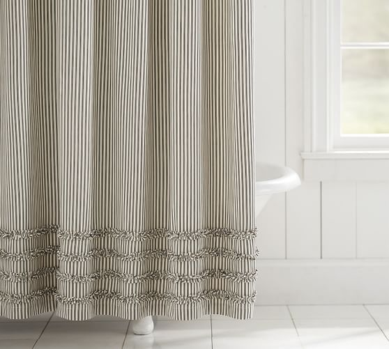 Ticking Stripe Ruffle Shower Curtain Farmhouse Shower Ruffle