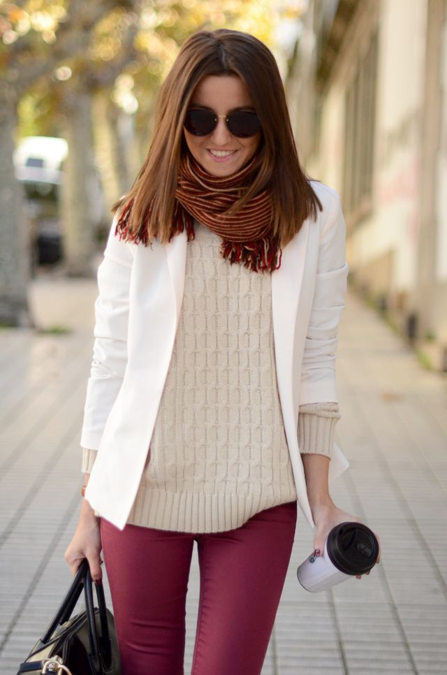 Lovely Pepa. Perfect burgundy pants and cable knot sweater for winter!