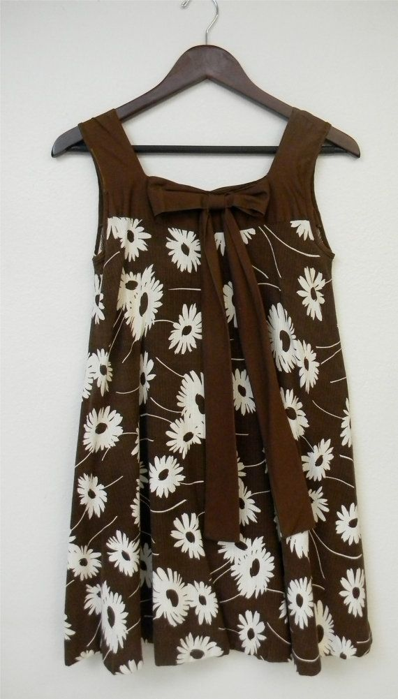 Vintage Dress 60s Trapeze Cotton Flower by PinkCheetahVintage, $20.00