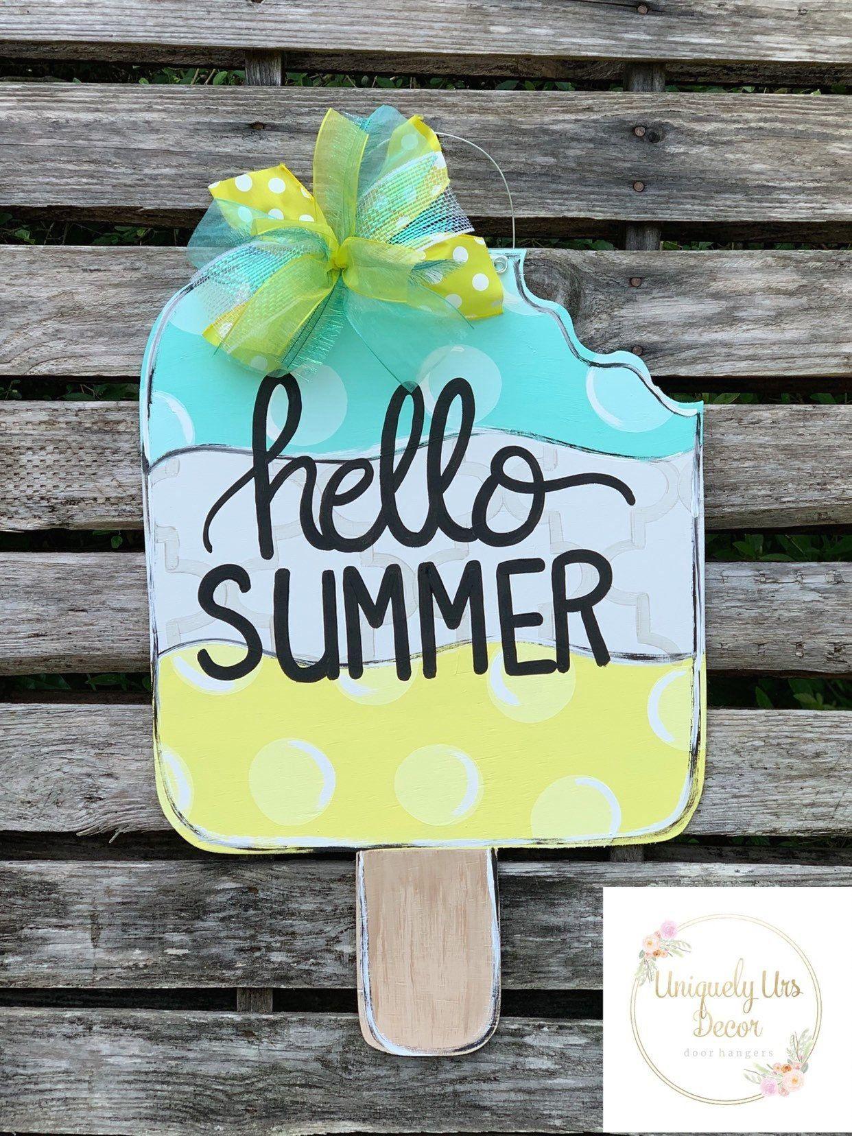 Popsicle Door Hanger Hello Summer Beach Door Hanger Lake In 2020 Wooden Door Signs Summer Door Decorations Door Signs Diy