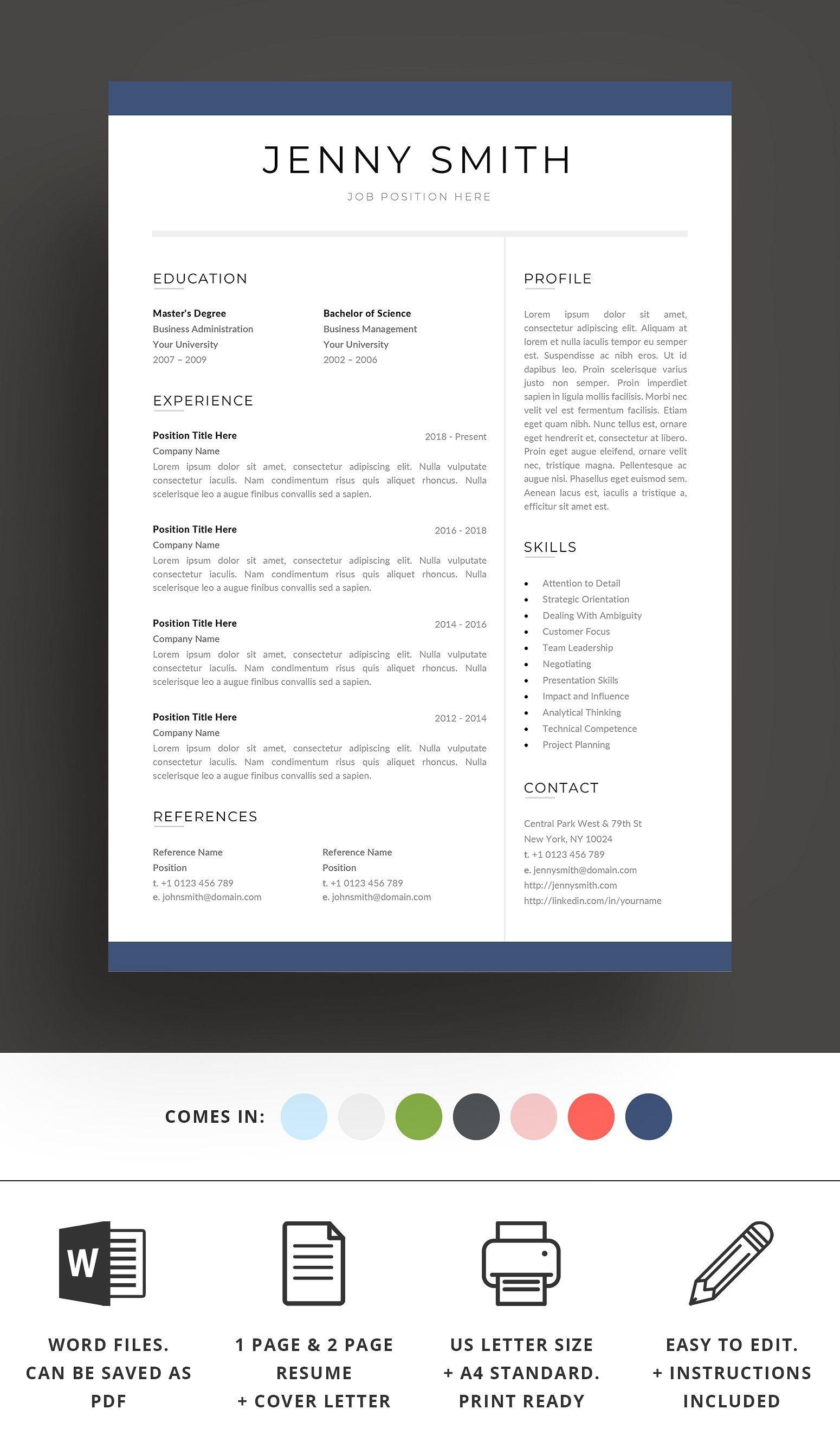 Resume Template Word Modern Clean Cv Resume Template Word Resume Design Template Resume Template