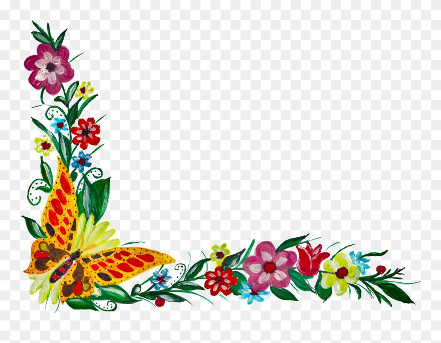 5 Flower Butterfly Corner Corner Flower Border Png Clipart Flower Border Png Flower Border Clip Art