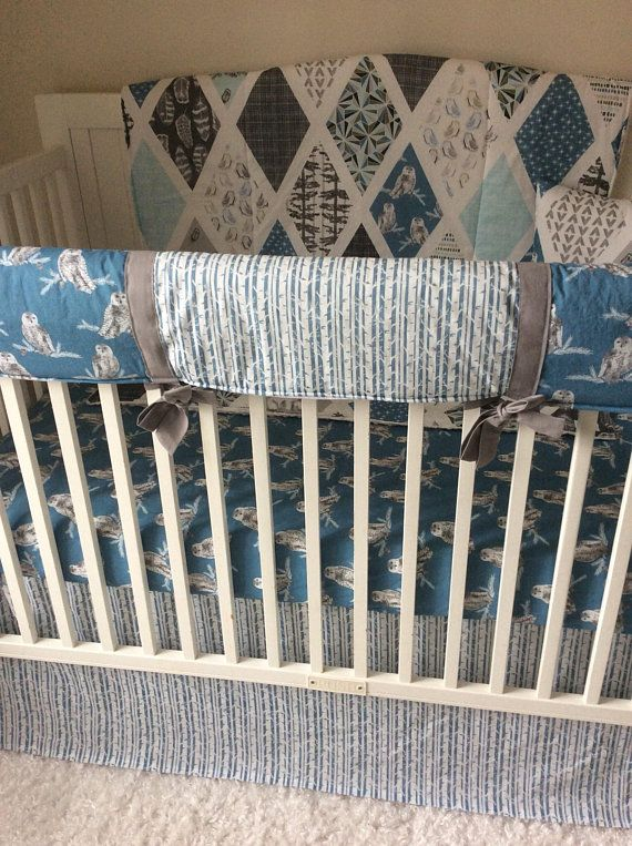Baby Boy Cribs: Baby Boy Crib Bedding Snowy Owl Blue Gray Fox Trees
