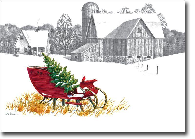 Farm Scene Christmas Cards   Farm scene, Pencil drawings ...