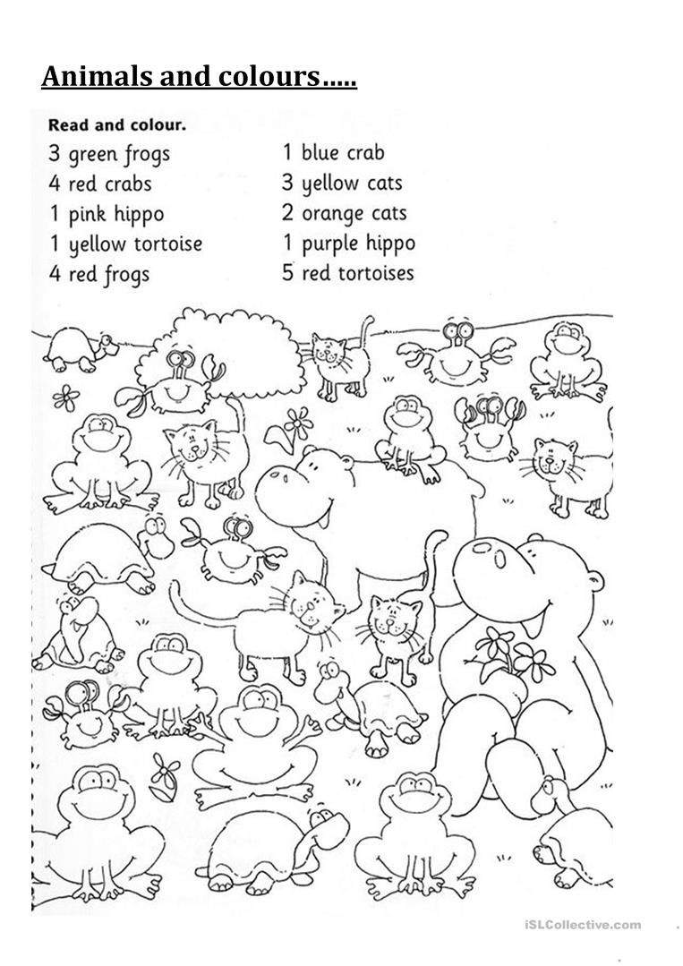 Animals and Colours worksheet - Free ESL printable worksheets made by  teachers   Kindergarten english [ 1079 x 763 Pixel ]