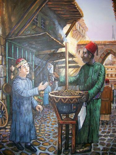لوحة من التراث الدمشقي Heritage Of Damascus A Seller In An A Old Popular Market Arabian Art Arabic Art Old Art