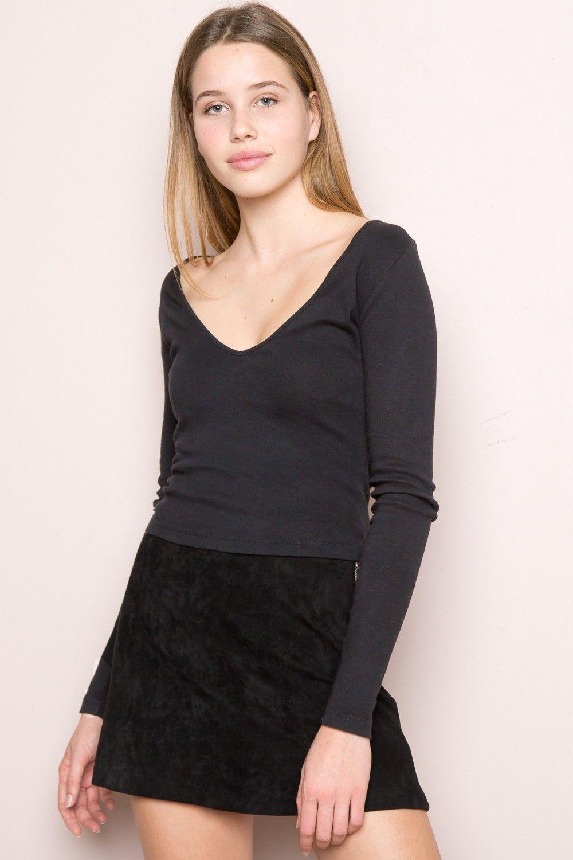 Black t shirt dress brandy melville - Brandy Melville Blake Top Tops Clothing