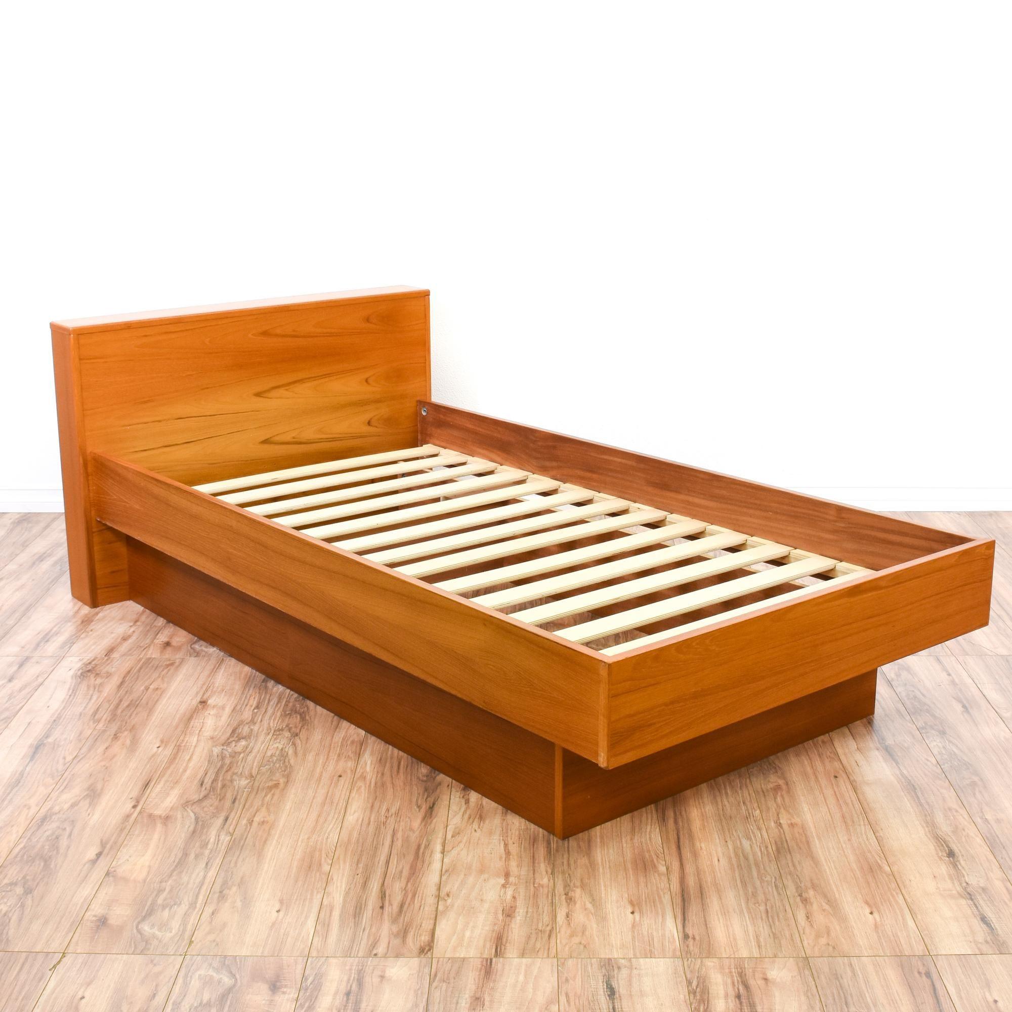 Danish Modern Teak Twin Sized Platform Bed Frame Modern Platform