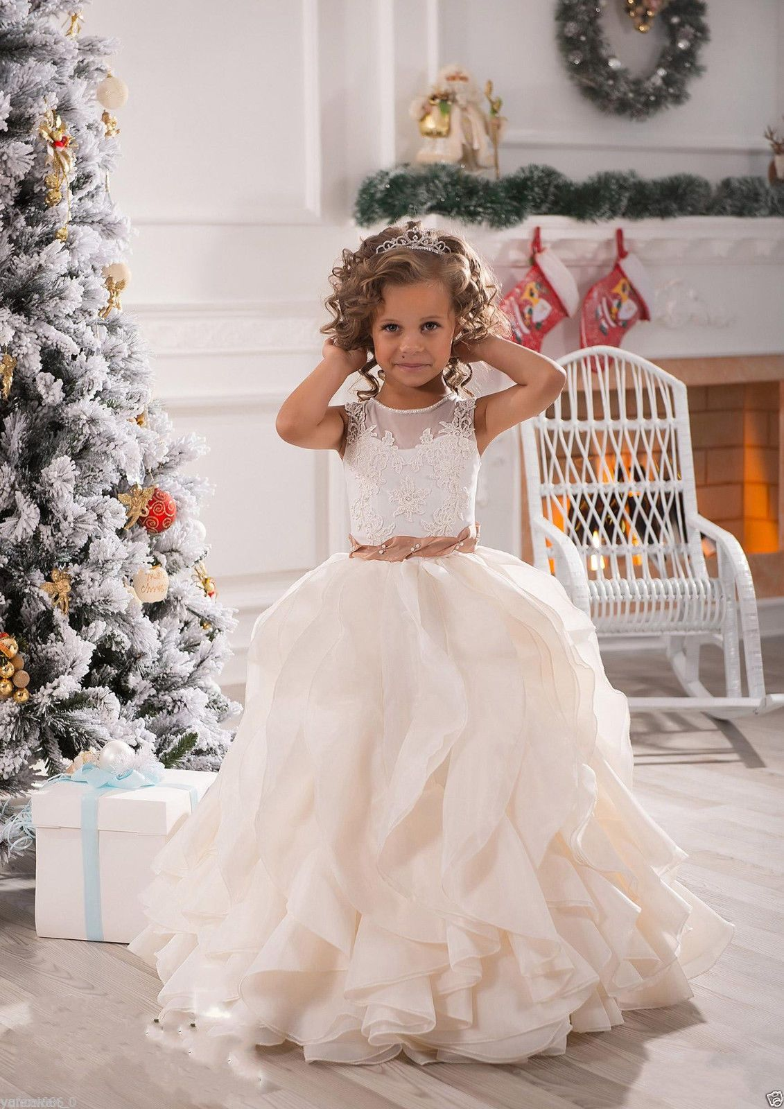 Details About New White Ivoryruffles Wedding Prom Kids Pageant Baby Princess Flower Dress