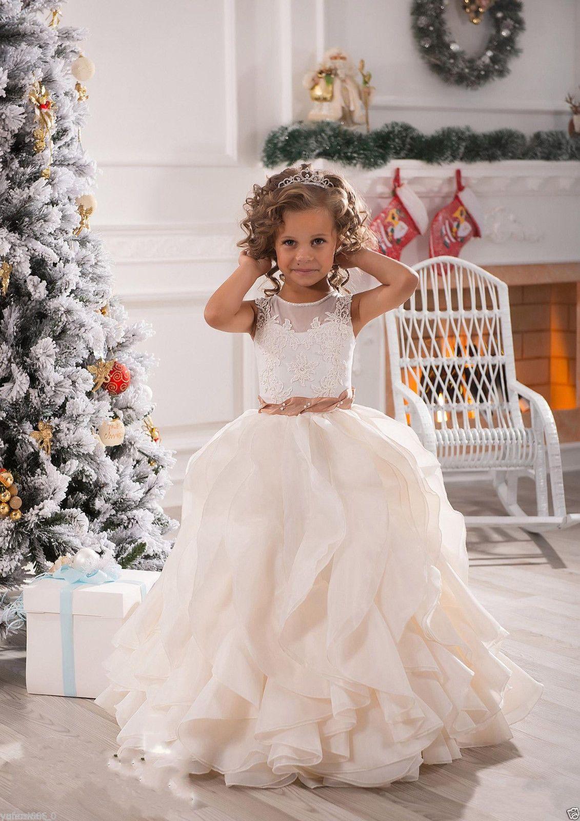 f19e354c8 NEW White IvoryRuffles Wedding Prom Kids Pageant Baby Princess ...