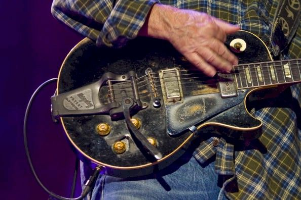 Guitar neil young old black