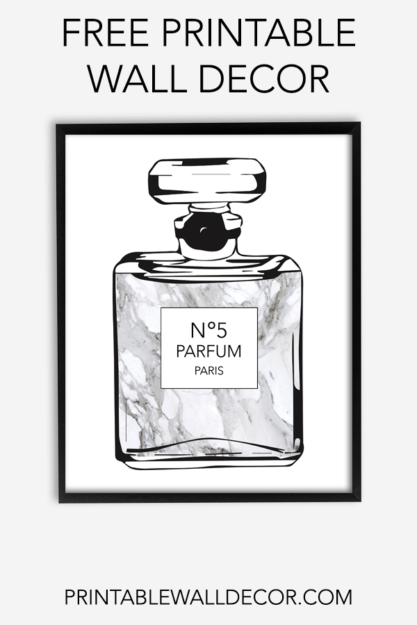 Free Printable Perfume Bottle Wall Art Download And Print This Free Printable Chanel Bottle Wall Decor Printables Free Printable Wall Art Free Printable Art