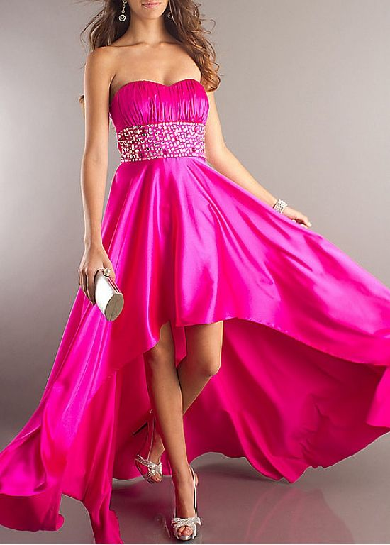 Glamorous Charmeuse Empire Strapless Hot Pink Prom Dress With ...