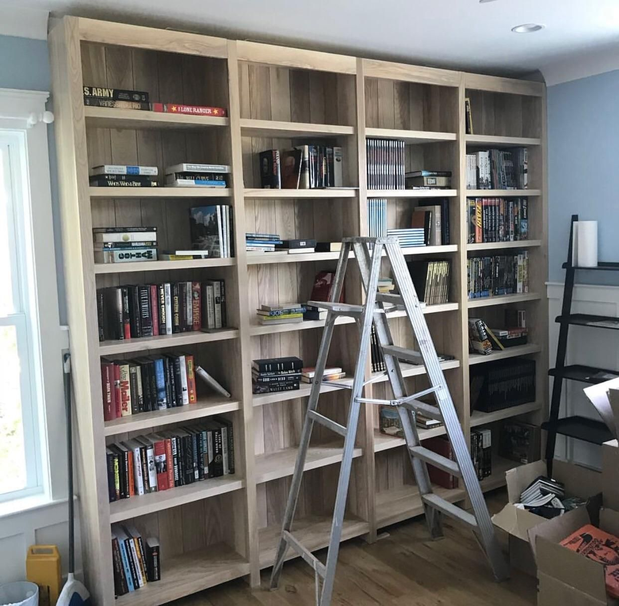 Just Finished Installing These Solid Ash Including The Backing Bookshelves Today Had A Matching Set But Half A Bookshelves Home Decor Woodworking As A Hobby