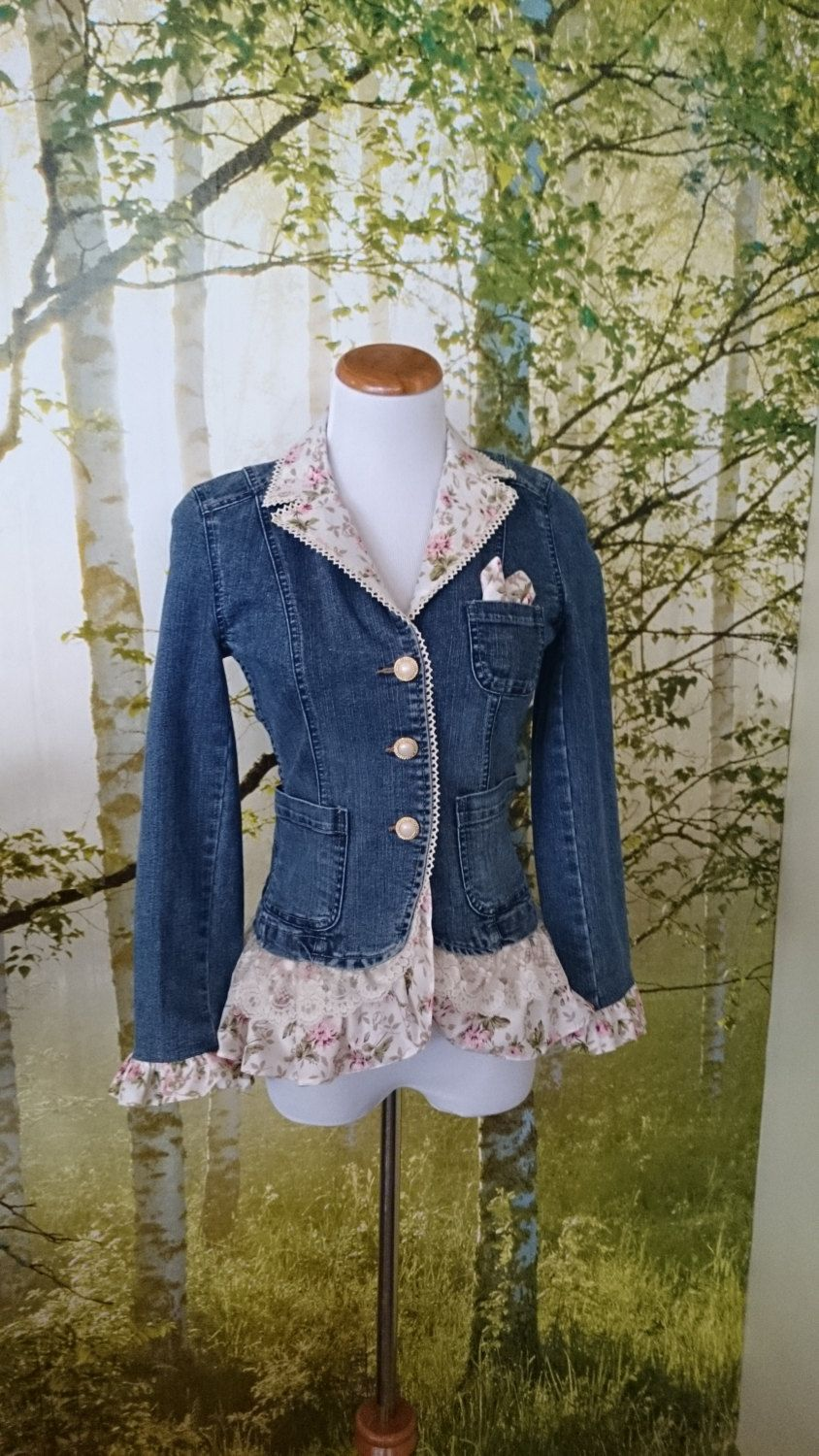 women 39 s denim jacket embellished with ruffles and lace. Black Bedroom Furniture Sets. Home Design Ideas