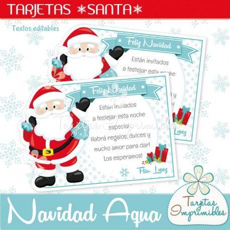 Navidad Aqua Tarjetas Santa Claus | Etiquetas para botellas ...