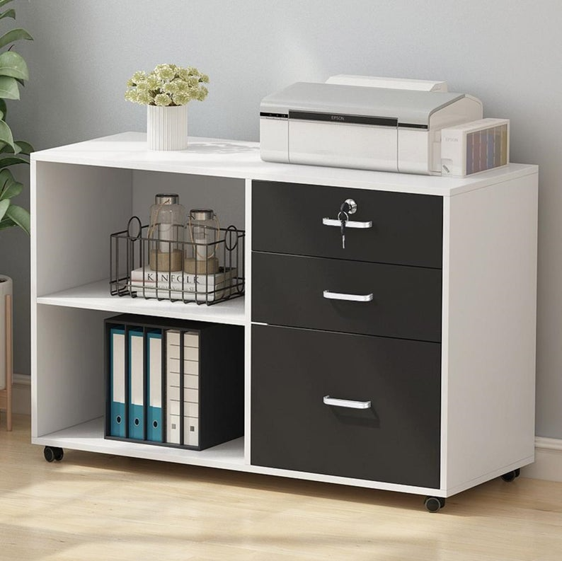 3 Drawer Wood File Cabinets With Lock Etsy In 2021 Printer Storage Filing Cabinet Home Office Filing Cabinet