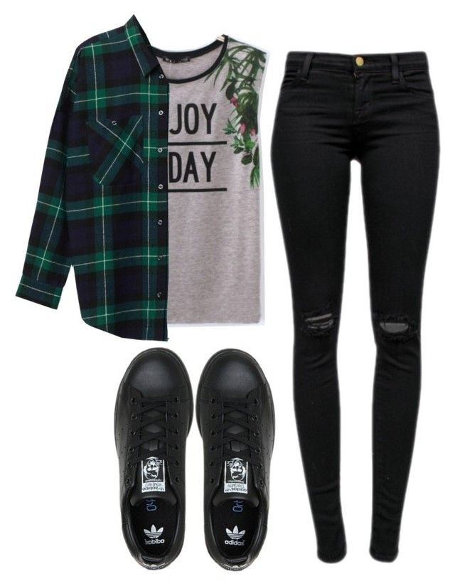 """Enjoy today"" by maevaxstyle ❤ liked on Polyvore featuring Monki, J Brand and adidas"