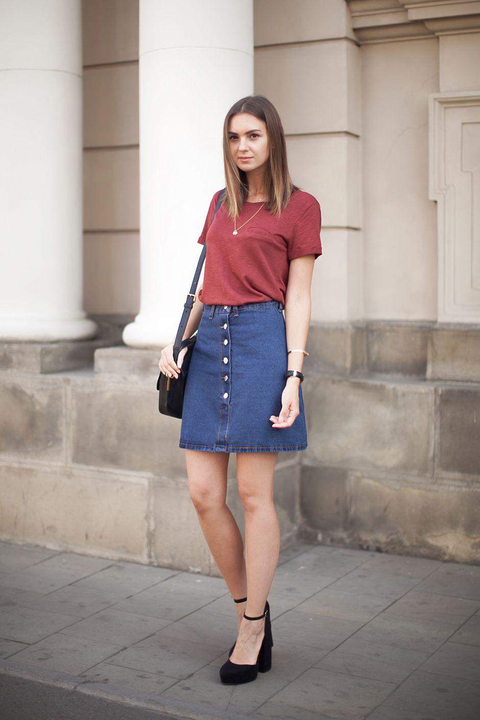 Denim Skirt Outfit Ideas Summer