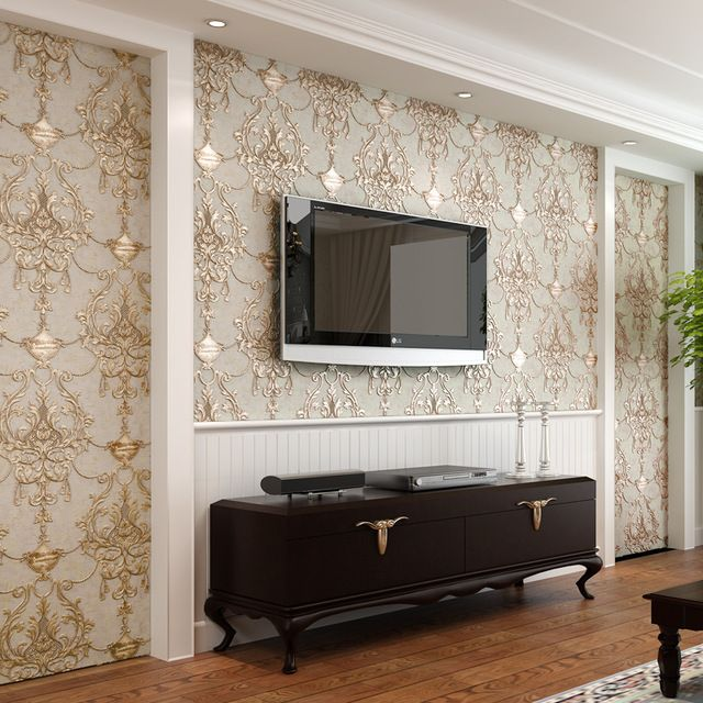 Modern Living Room Murals wallpaper 3d embossed non-woven wallpapers luxury european wall