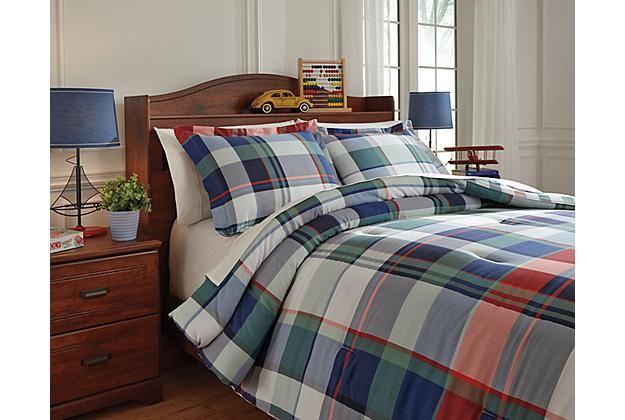 Kids Bedding Plaid Mannan 3-Piece Full Comforter Set Ashley