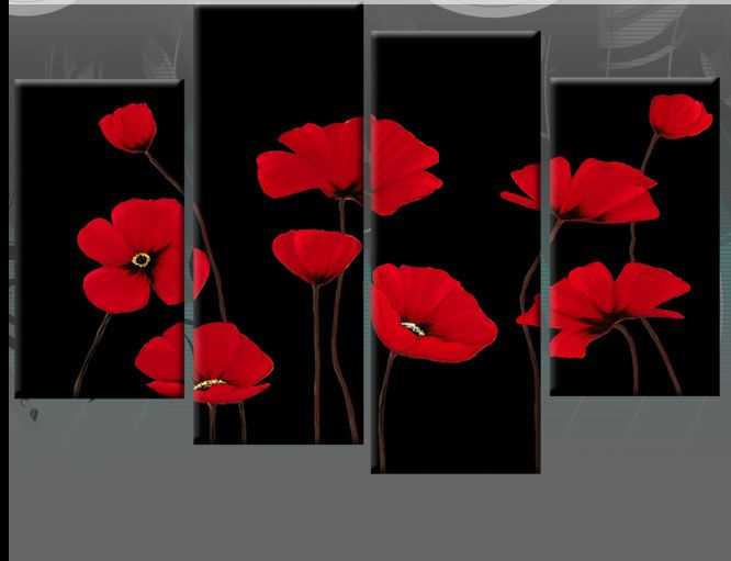 Red Poppy Canvas On Black 4 Panel Wall Art Split Pictures 4 Panel 40 Rdy 2 Hang Ebay Funny Wall Art Canvas Wall Art Art