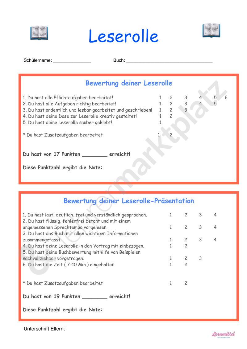 Leserolle Bewertung - Seite 1 | Lernmittel hausgemacht - mein ...