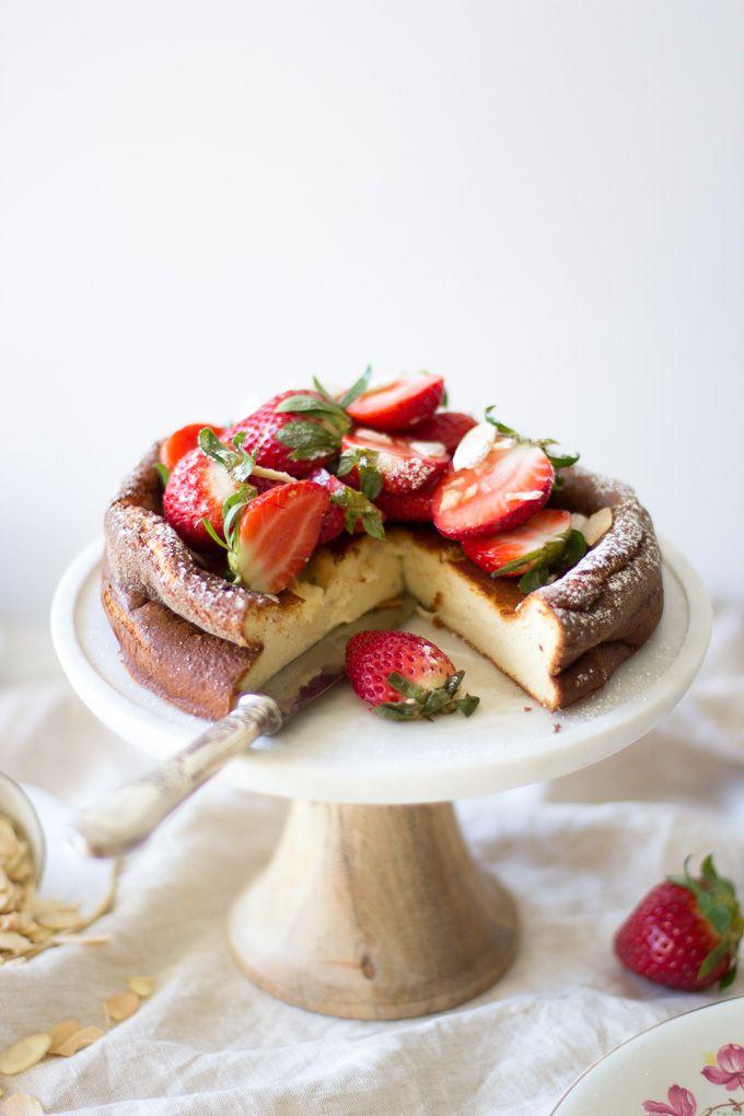 Crustless, Sunken Ricotta Cheesecake from @mattersofbelly